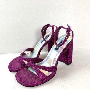 Vintage Sparkly Purple Heeled Sandals